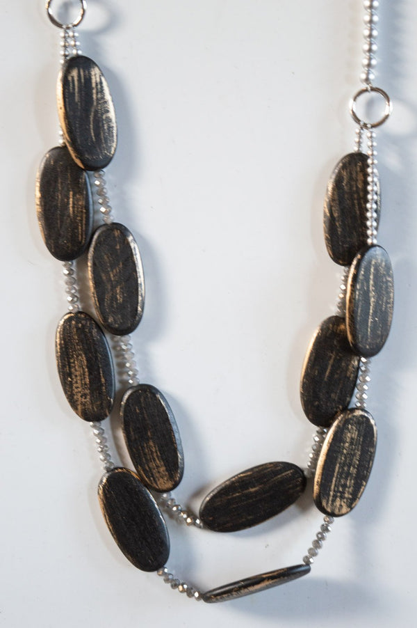 Long Charcoal Layered Wooded Shell Necklace