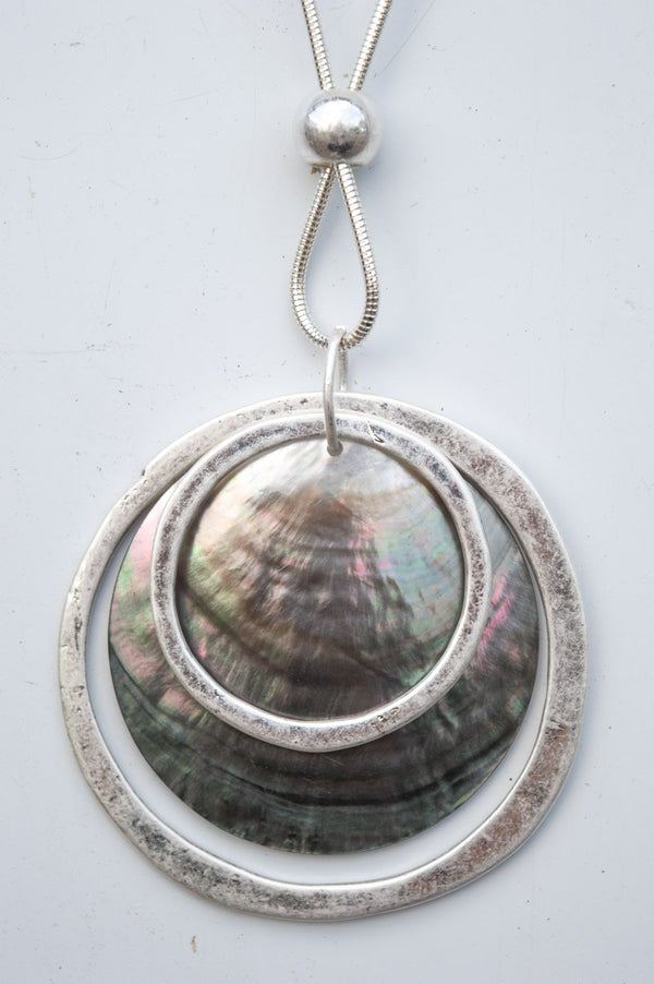 Long Double Ring Silver Shell Necklace