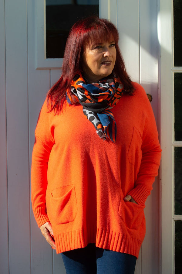 Orange & Navy Leopard Print Scarf