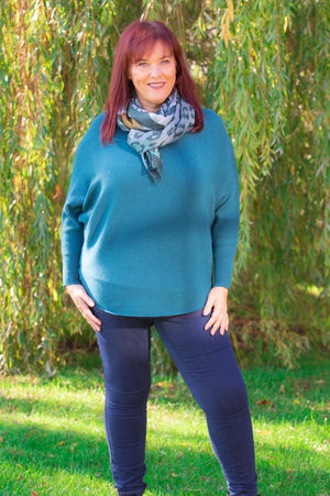 Teal Ribbed Batwing Jumper