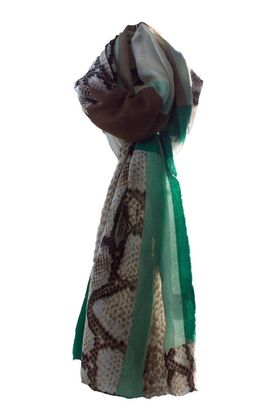 Taupe and Emerald Green Snake Print Scarf