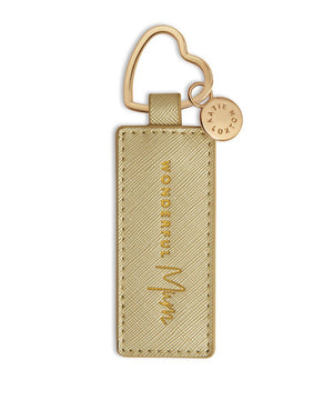 Katie Loxton Gold 'Wonderful Mum' Sentiment Heart Keyring