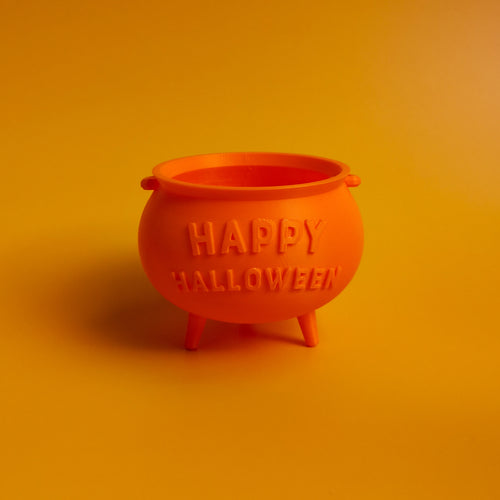 3D Printed Happy Halloween Cauldron Candy Bowl | kezar3d.com