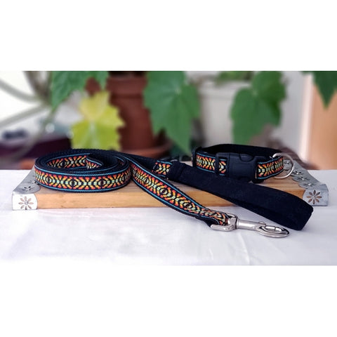 Black and Orange Ikat Leash and Collar Set