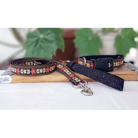 Rusty Floral Leash and Collar Set