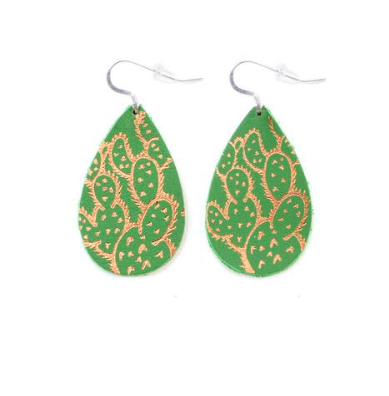 Prickly Pear Cactus Leather Earrings