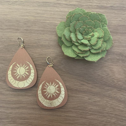 Sun & Moon Painted Wood Earrings