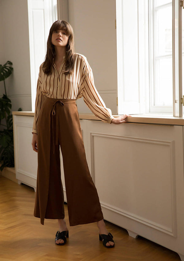 Sweet Cinnamon Trousers in Silk Satin