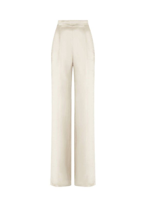 High-Waisted Trouser in Silk