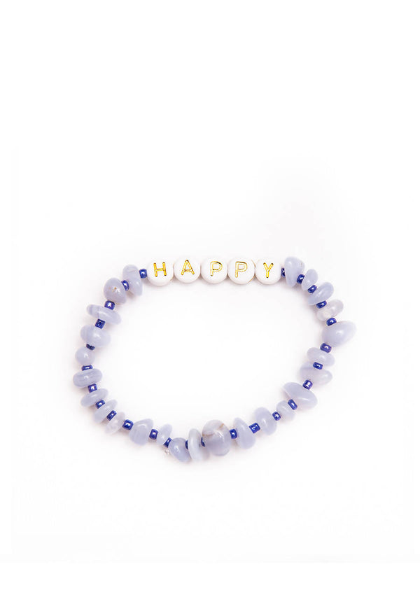 Happy Gold - Blue Lace Agate - Crystal Healing Bracelet