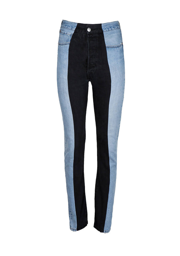 Light Blue / Black Contrast Straight Leg Jean