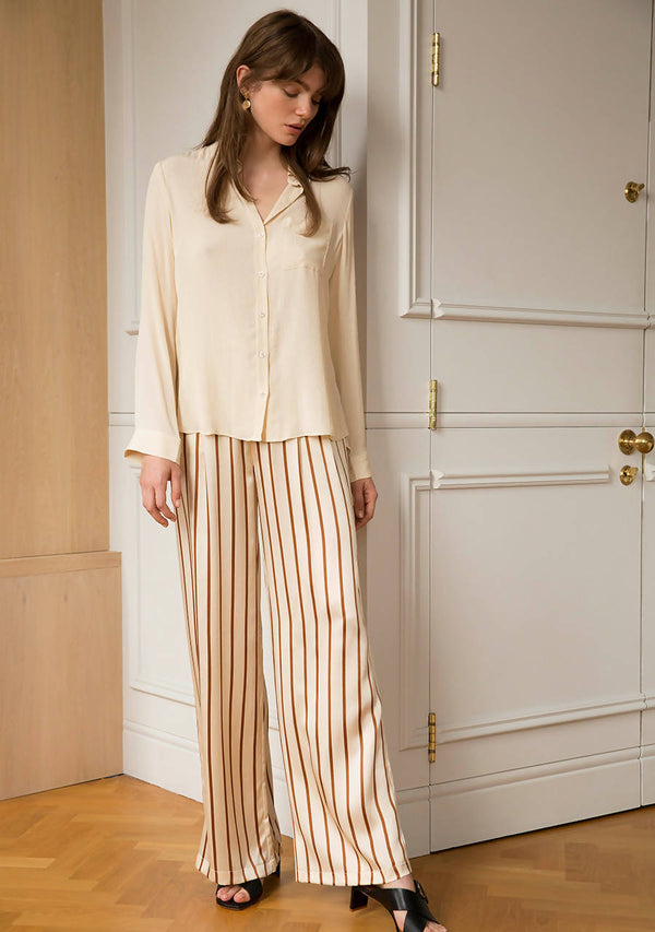 Bronzed Sky Trousers in Silk Satin