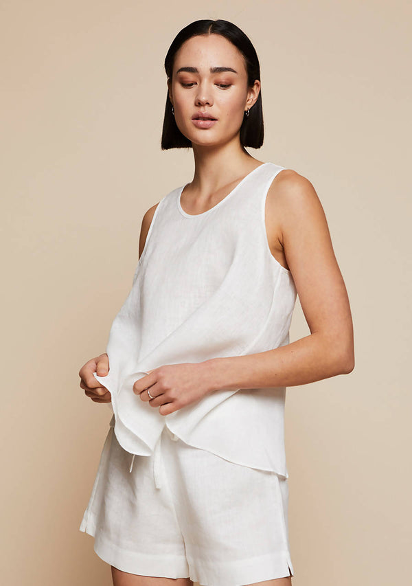 Thera Tank Top in Moonlight White Linen