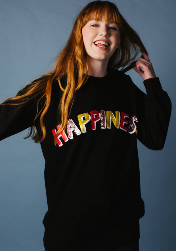 Happiness Oversized Black Sweatshirt in Cotton