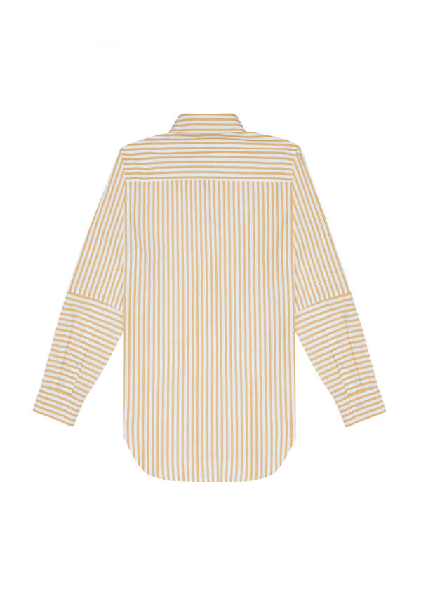 Organic Cotton Shirt in Ochre Stripe