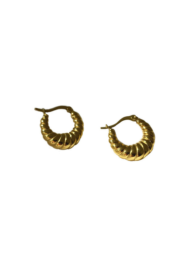 Croissant Hoop Earrings in Gold