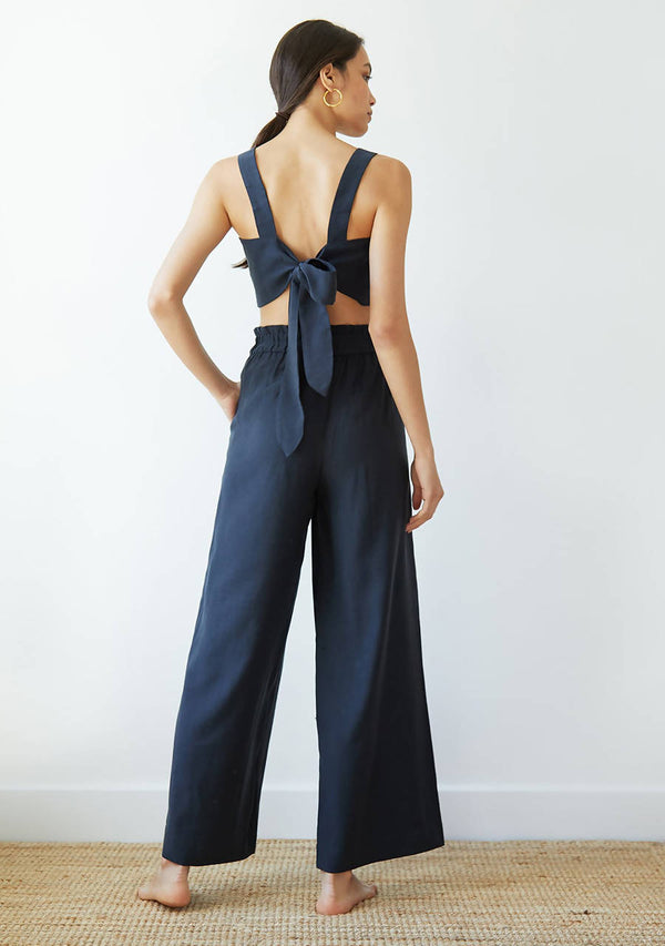 Natalia Trousers in Midnight Navy Cupro