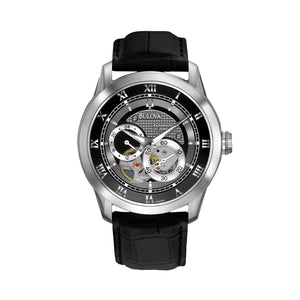 Bulova Men's Leather Automatic Skeleton Watch