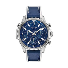 Load image into Gallery viewer, Bulova Men's Marine Star Leather Chronograph Watch