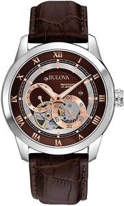 Bulova Men's  Brown Leather and Stainless Steel Water-resistant Watch