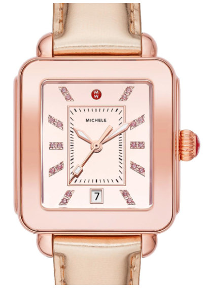 Deco Sport High Shine Pink Gold Tone Mirror Dial Pink Gold Leather Watch
