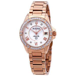 Bulova Ladies Rose Gold Tone Marine Star Diamond Watch with MOP Dial