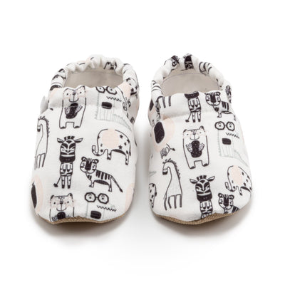 black and white cartoon baby toddler shoes with animal prints