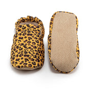 Soft-soled leopard baby shoes with elastic ankle