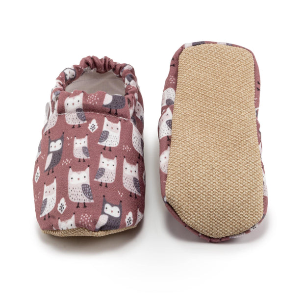 toddler and baby owl shoes brick red