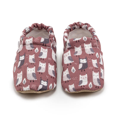 brick red owl printed soft shoes for baby and toddler