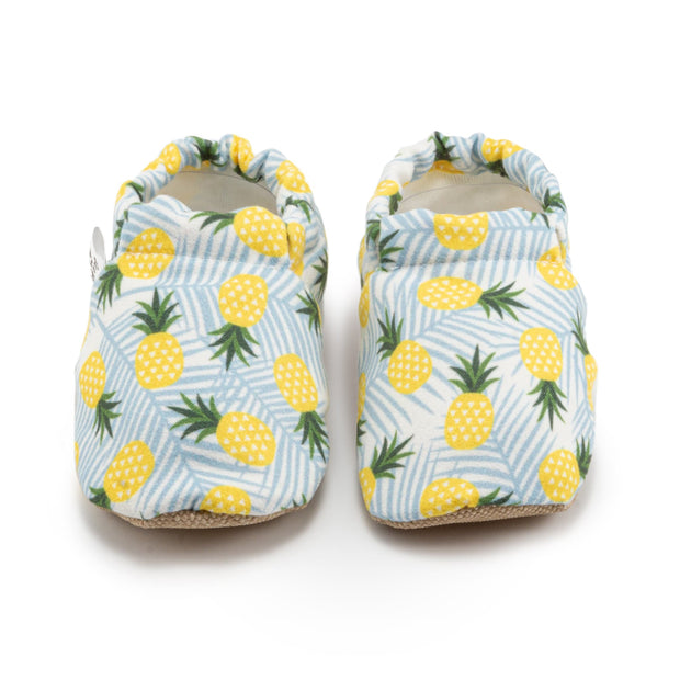 Pineapple Baby Shoes on Blue and White Striped Fabric
