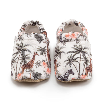 colorful savannah animal print slip ons