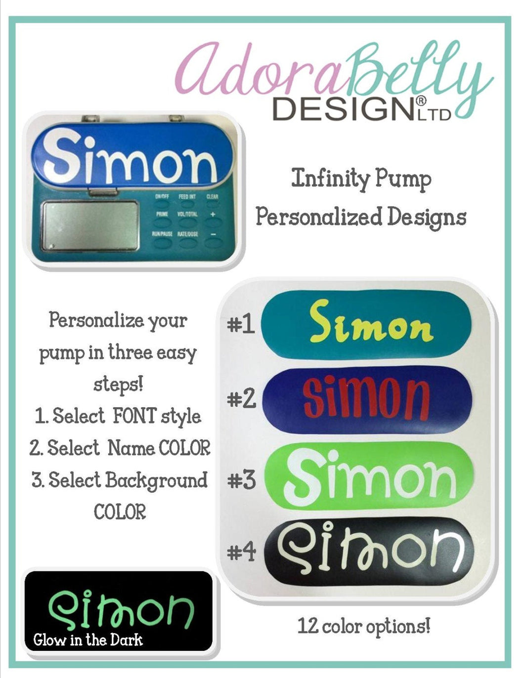 Infinity Pump Personalized Name Decals