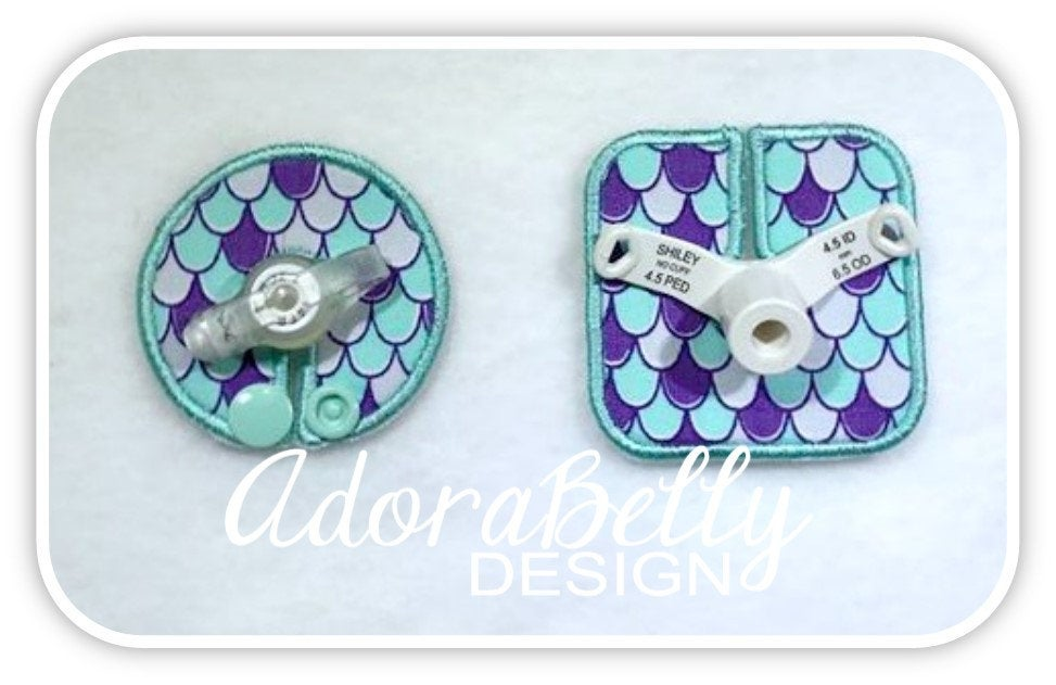 Mermaid Scales - Gtube Tubie Cover & Trach Pads - Matched Set!