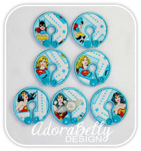 Load image into Gallery viewer, Wonder Woman, Supergirl, Batgirl Tubie Cover (Gtube Covers G tube Pad Disney)  WW aqua