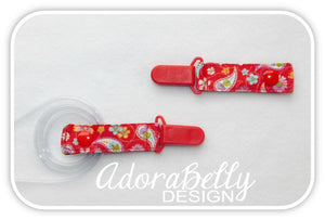 Red Paisley AdoraClip - Tubie Clip (Gtube, IV, Ventilator tube connection)