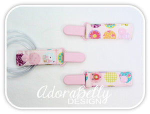 Pink Princess Floral AdoraClip - Tubie Clip (Gtube, IV, Ventilator tube connection)