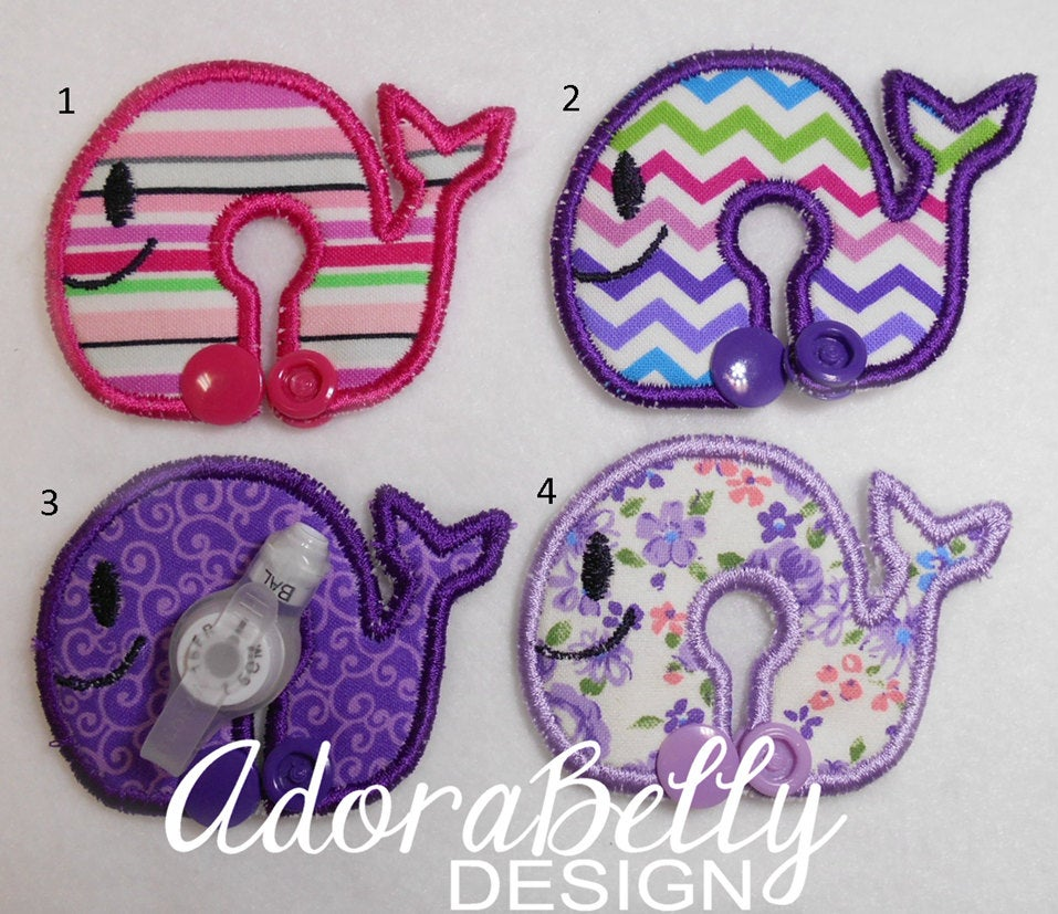 Whale Shape Gtube Pads G Tube Covers Purple Pink Floral Tubie