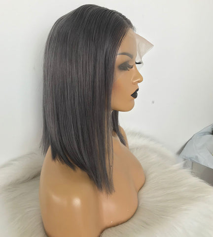 Bob Lace Front Wigs 180 Density Transparent Lace Wigs 13X4 Short Human Hair Wigs Smonky Grey