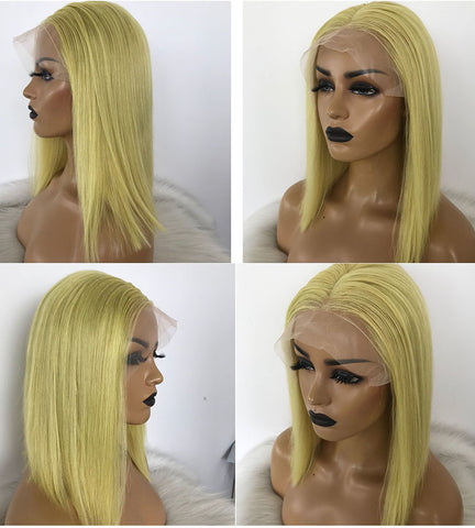 Bob Lace Front Wigs 180 Density Transparent Lace Wigs 13X4 Short Human Hair Wigs Lemon