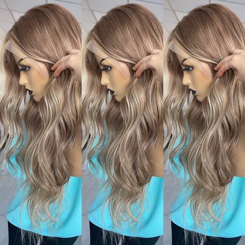 UBeautyWig Ombre 7/7/24 Highlight Cami Color 13X6 Lace Front Wig Pre Plucked Hair line with Baby Hair 100% Human Hair Balayage Color