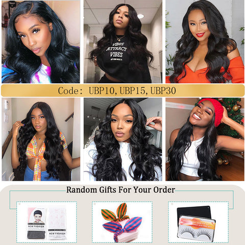 Ubeautywig 13X6  Transparent Lace Front Wigs Natural Color Body Wave Virgin Hair 130-180% Density