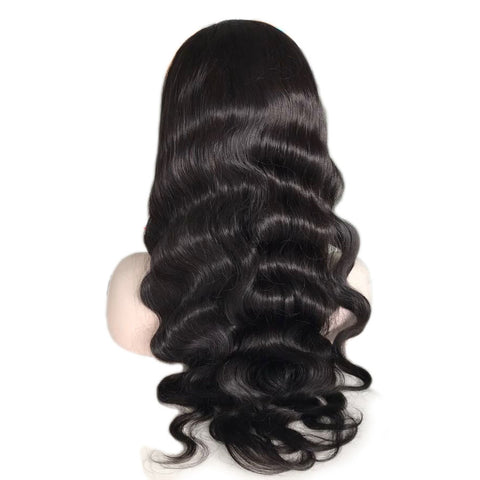 Ubeautywig Wavy Indian Remy Hair Full Lace Wigs Body Wave Natural Color 130-180% density