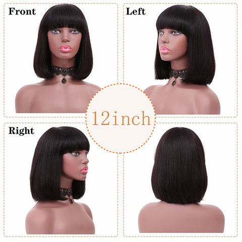 Ubeautywig Straight Bob Wig With Bangs Short Bob Virgin Human Hair Wigs For Women