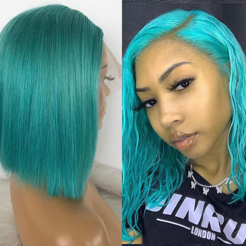 Bob Lace Front Wigs 180 Density Transparent Lace Wigs 13X4 Short Human Hair Wigs Dusty Blue