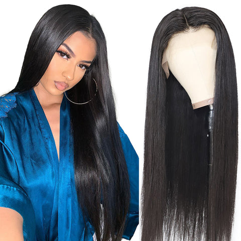 Ubeautywig 13x4 Transparent Lace Front Human Hair Wigs Staight Virgin Hair 150% Density Human Hair Wig Preplucked Hairline With Baby Hair