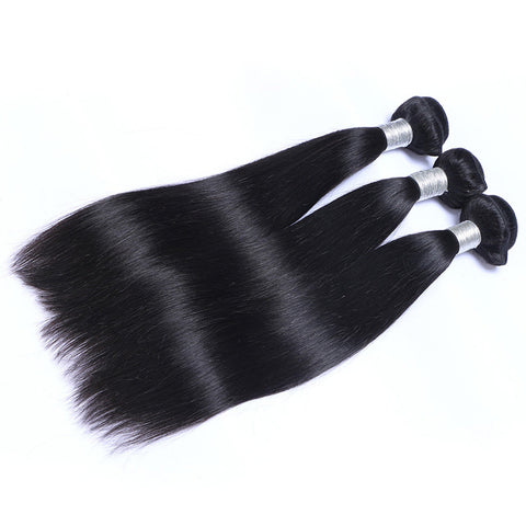 Virgin Brazilian Hair Weft Extension Silky Straight Natural Color Bundles Hair 3pcs/lot