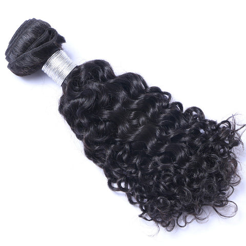 Curly Weft Hair Extension Natural Color Brazilian Virgin Human Hair 1Bundle