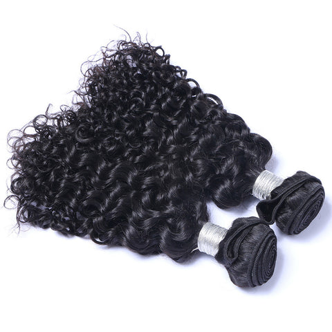Brazilian Virgin Hair Weave Curly Weft Human Hair Nautral Black Bundles 2pcs/lot