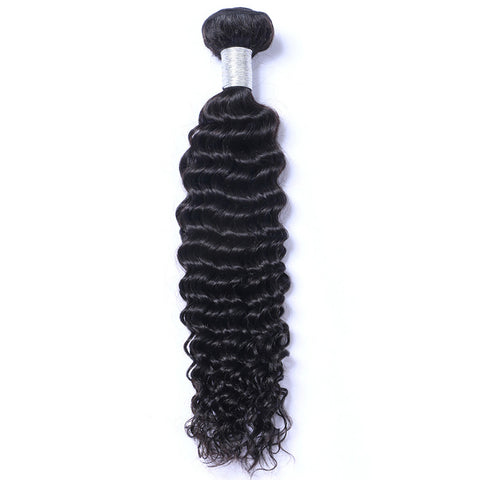 Deep Wave Weft Hair Extension Natural Color Brazilian Virgin Human Hair 1Bundles